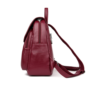 Image 3 - Casual duplo zíper mochila feminina grande capacidade saco de escola para a menina marca couro bolsa de ombro 2018 senhora mochila viagem