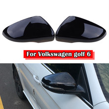 Preto brilhante asa lateral espelho capa espelho retrovisor para vw golf gti mk6 2010-2013 acessórios do carro substituição