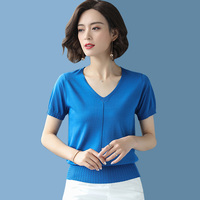 2019 Summer new Solid color T shirt Women Casual Knitted Short Sleeves Tops Tees fashion elegant V Neck Loose T shirt