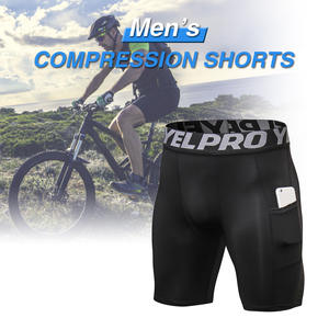 Shorts Pocket Men for Cycling Training-Sports Underwear Elastic-Waistband Moisture-Wicking