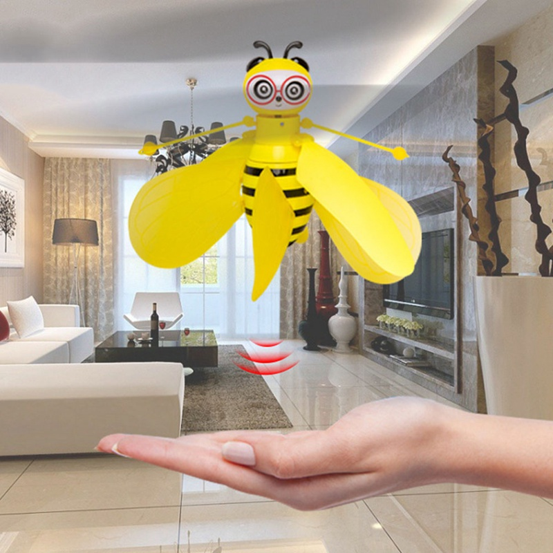 Flying Bee Infrared Sensor RC Animals Hand-Controlled Gesture Sensing Little Bee Flying Machine Mini Drone Gift For Kids Toy