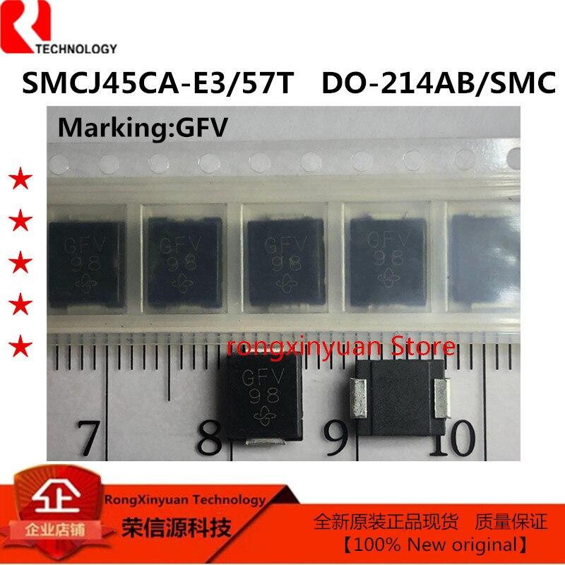 20 шт SMCJ45CA-E3/57T GFV SMCJ45CA-E3 SMCJ45CA S MCJ45A SMCJ45 двунаправленный телевизионный диод, 1500 Вт, 45 в, 2-контактный телефон, новый оригинал