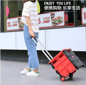 Collapsible Shopping Cart Fold Shopping Bag On Wheel Grocery Trolley Crate Car Hand Carts Luggage Trolley Supermarket Shop Car фото