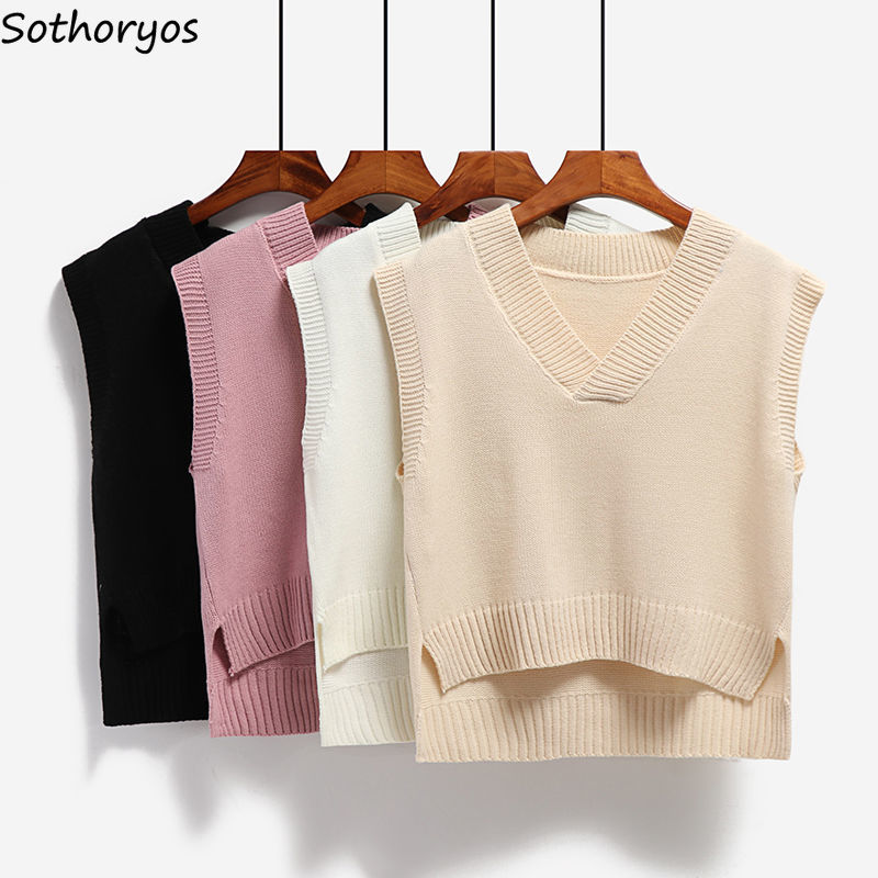 Vest Women Knitted V neck Solid Loose Stylish Casual Korean Style Simple Side slit Asymmetrical Womens Waistcoats All match Chic