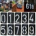 Дом номер двери адрес пластина #0-9 светодиодный Солнечный настенный светильник номер знак свет автоматический вкл/выкл переключатель для г...