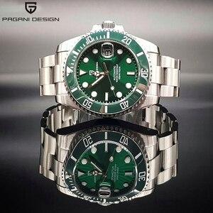 PAGANI DESIGN Luxury Brand Stainless Steel Automatic Watch Men Mechanical Sport Japan NH35 Fashion Green Watch relogio masculino