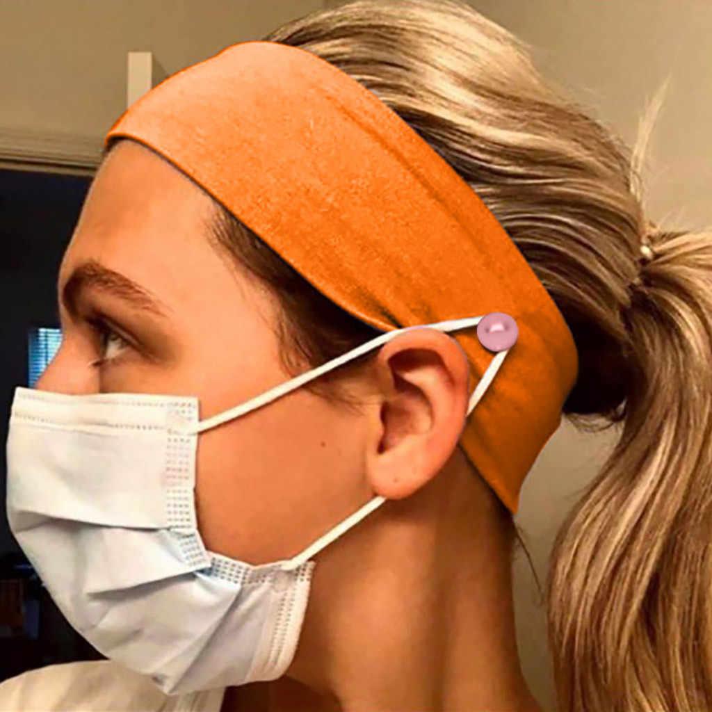 Peregangan Olahraga Ikat Kepala Tombol Ikat Kepala Sungkup Muka Pemegang Memakai Topeng-Melindungi Telinga Anda dengan Ikat Kepala Gym Stretch Headband