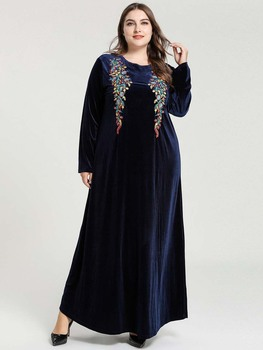 Embroidery Dresses Musulman Abaya Dubai Vestidos Evening