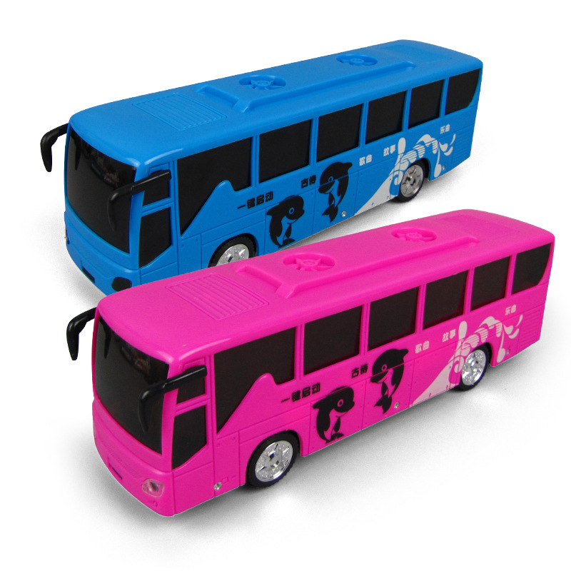 Electric Universal Touch Bus Model 3D Cool Lighting Music Bus Children Electric Stall Toy
