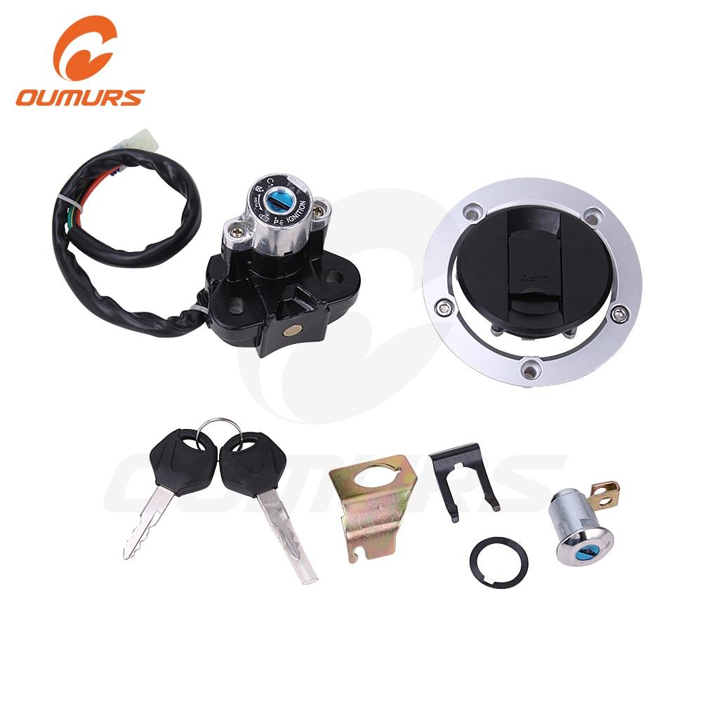 OUMURS Motorcycle Ignition Switch Fuel Gas Cap Lock Key Set For Suzuki GSXR600 1200 750 1000 GSF650 1250 SV1000 650 DL 2004-2015