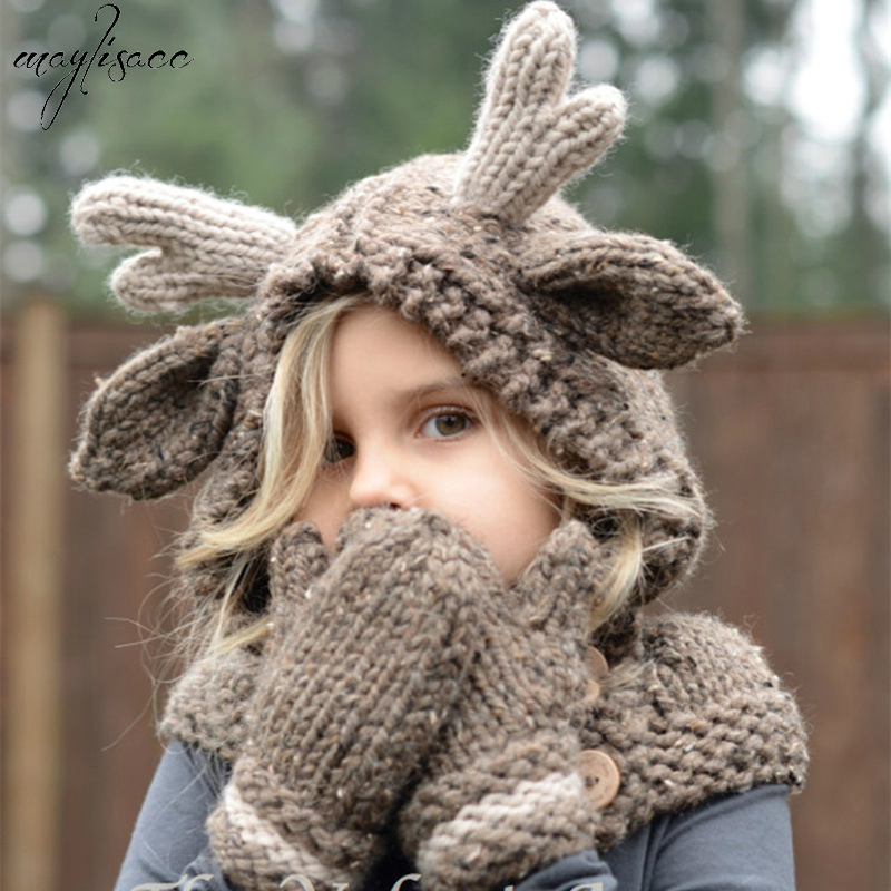 Autumn Winter Maylisacc Cute 4-8 Years Old Children Acrylic Knitted Hat Scarf Gloves 3 Pcs Set Animal Elk Cap Crochet Neck Glove