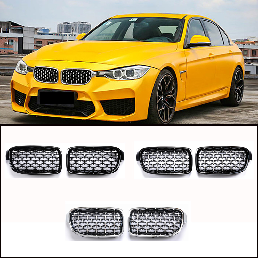 Diamante riñón rejillas de parachoques delantero para BMW 1, 2, 3, 4, 5, serie F30 F34 F32 F33 F36 F80 M3 F82 F83 M4 E90 E91 F10 F11 G30 G31 ABS