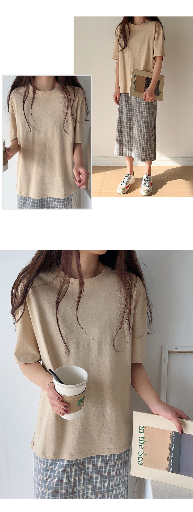 H1530d9153e094a7a8c4916237aa30b60Y - Summer O-Neck Short Sleeves Minimalist Loose Basic T-Shirt