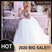 Платье свадебное кружевное ТРАПЕЦИЕВИДНОЕ с длинным рукавом и аппликацией, I169