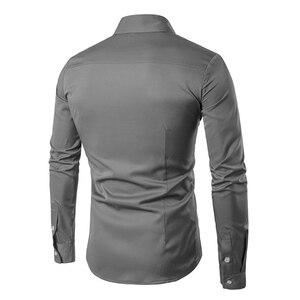 Image 2 - Мужские рубашки VISADA JAUNA, повседневные рубашки в стиле смарт кэжуал с разноцветным базовым принтом и вышивкой, весна осень 2018