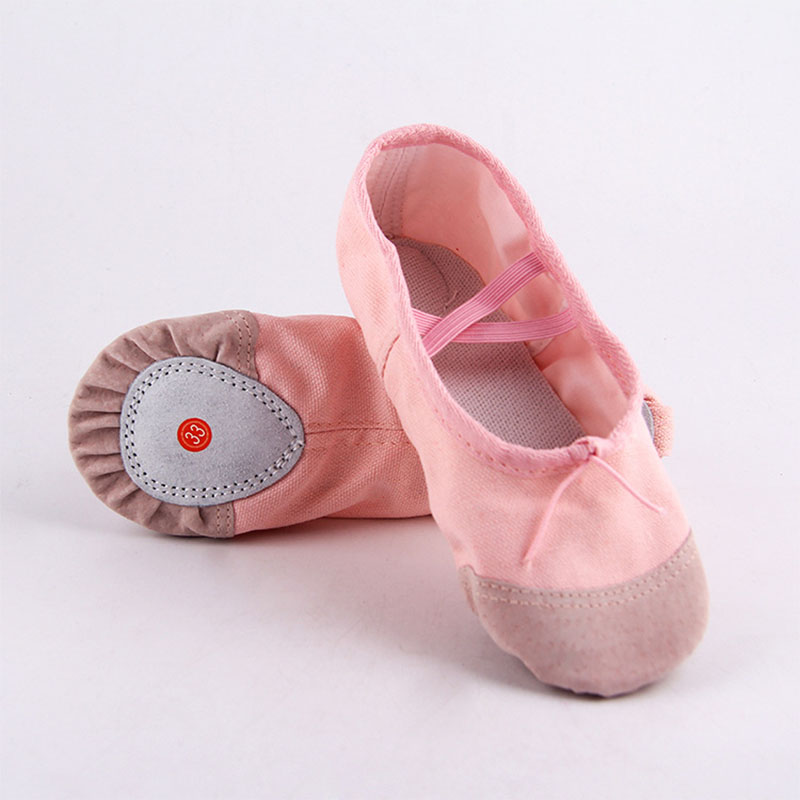 Size 22-30 Baby Girls Pink Ballet Dance Slippers Yoga Gymnastics Shoes Split-Sole Kids Shoes Cute Soft