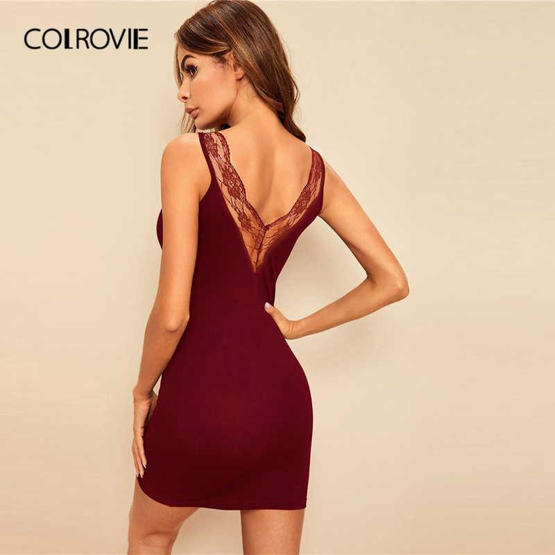 COLROVIE бордовое Кружевное облегающее платье с v-образным вырезом на спине, сексуальное ночное платье 2019, летняя одежда для сна без рукавов, однотонные ночные рубашки