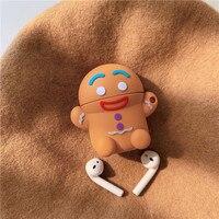 Per Airpods custodia 3D simpatico natale Gingerbread Man custodia in Silicone per auricolari in Silicone per Apple Airpods 1 2 Cover per cuffie Funda