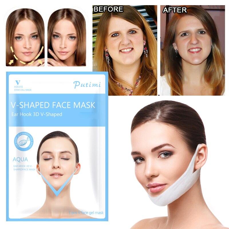1Pcs Gel V Lifting Facial Máscara de Rosto Fino V Shaper Emagrecimento Levantar Dormir Máscara Facial Reduzir Queixo Duplo ferramentas de beleza Para As Mulheres