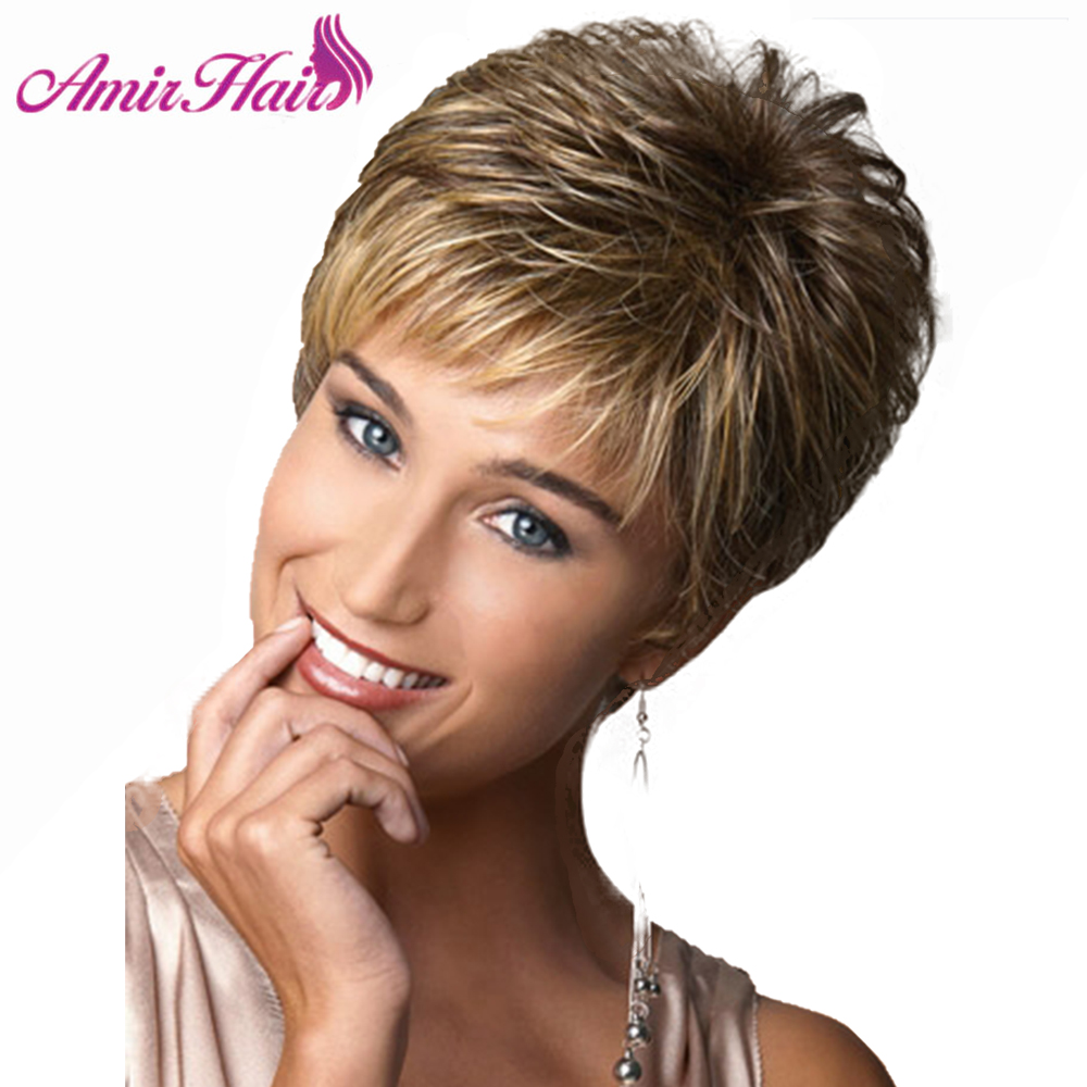 Amir Ombre Brown Blonde Synthetic Wigs Short Straight Hair For Black Women Layer Puffy Wigs Heat Resistant Fiber