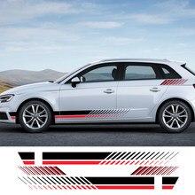 4 adet araba çıkartmaları yan şerit vinil filmi otomatik DIY dekorasyon çıkartmaları Audi A3 8p 8v A4 b8 b6 b7 b9 B5 A5 A6 araba aksesuarları