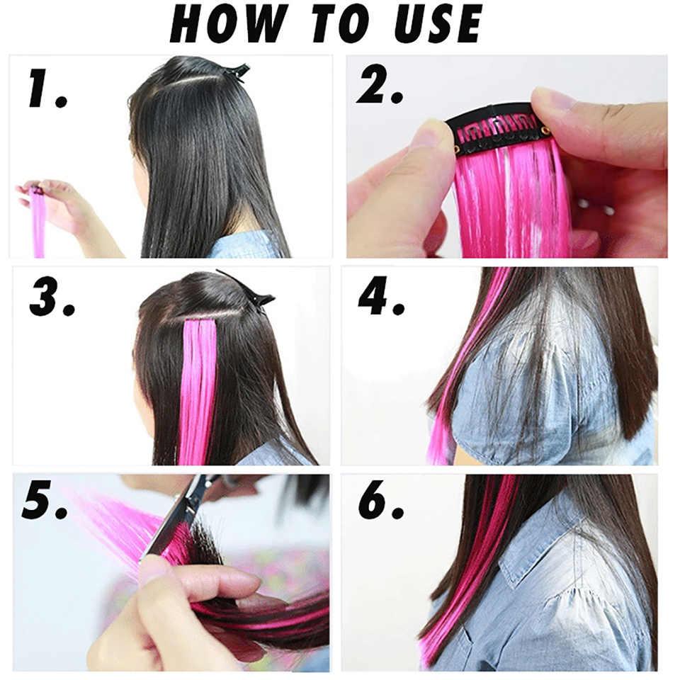 BUQI Gerade Gefälschte Farbige Haar Extensions Clip Regenbogen Haar Streak Synthetische Rosa Orange Weiß Lila Haar Stränge auf Clips