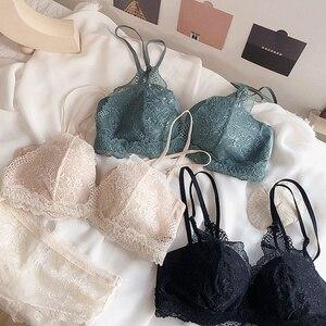 Image 1 - 2 sutiã e 1 calcinha 3 cores sem costura push up soutien, ultrafinos sutiãs de renda floral e calcinha transparente lingerie feminina sexy