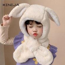 Зимняя шапка плюшевый кролик с ушами для ребенка Девочки Мальчика