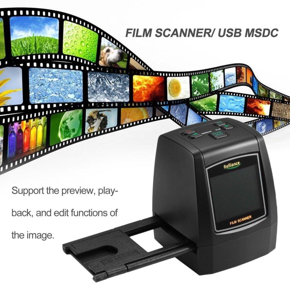 All In 1 Film Scanner Slide Scanner Automatic B&W Slides Negatives CMOS Sensor Speed Load Adapters Super 8 Films Scanner Scanners     - title=