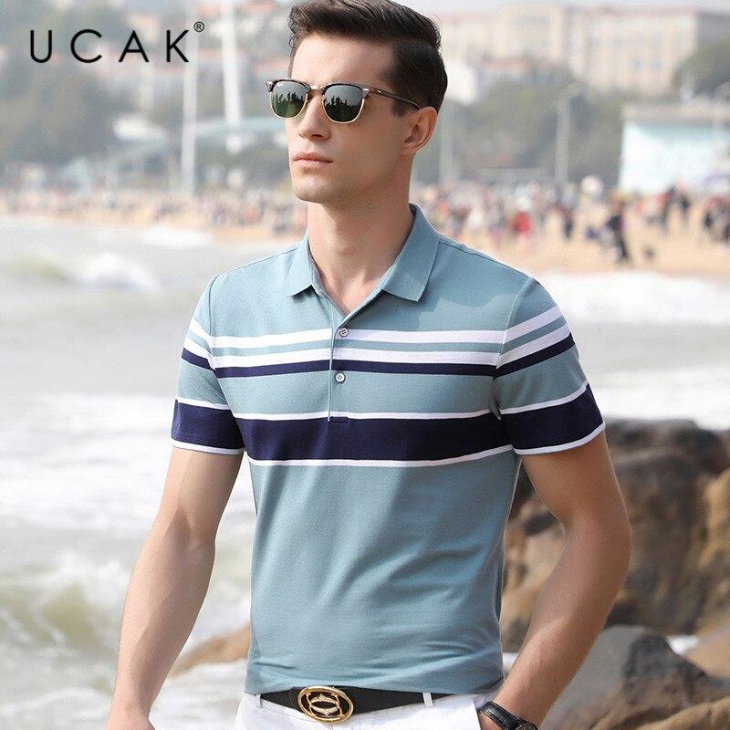 UCAK Brand 2020 Fashion Trend New Arrival T Shirt Streetwear Striped T-Shirts Mens Summer Casaul Short Sleeve Tshirt Men U5095