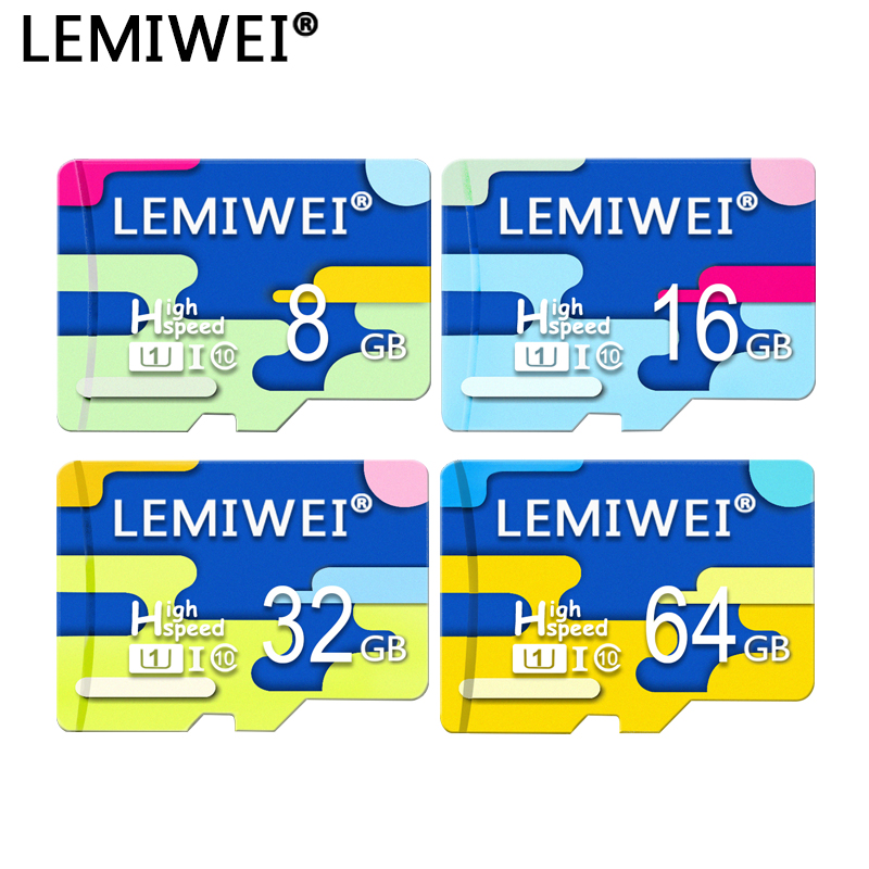 Lemiwei Four Color Top Quality Memory Card 32GB TF Card 64GB Flash Card 8GB 16GB Class 10 Waterproof The Color For Phone
