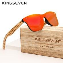 Kingseven feito à mão design da marca zebra polarizado uv400 óculos de sol lente espelho de madeira original oculos sol