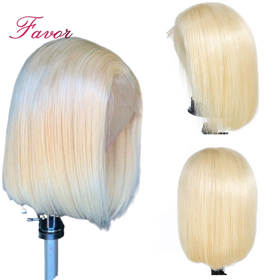 150 Density Lace Front Human Hair Wigs 613 Blonde 13 4 Short Straight Bob Lace Wigs
