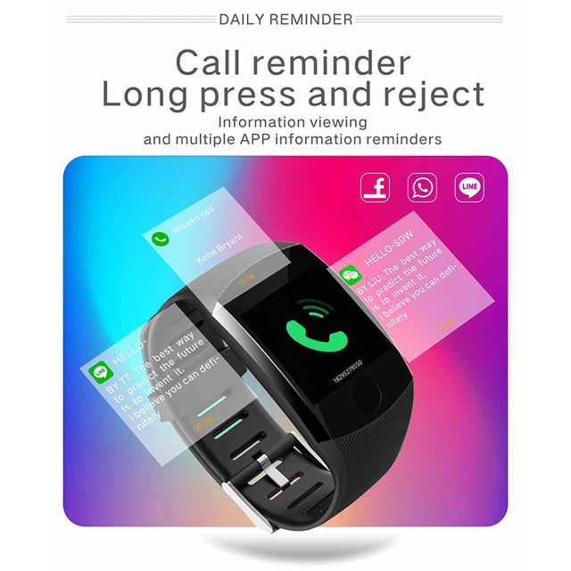 New Q11 Smart Watch Waterproof Fitness Bracelet Big Touch Screen Message remind Heart RateTime Activity Tracker Wristband