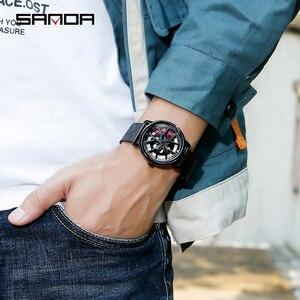 Image 5 - SANDA למעלה מותג אופנה חיצוני גברים שעון מיוחד מסתובב חיוג גלגל שעונים קוורץ תנועת מתנת שעוני יד Montre Homme 1025