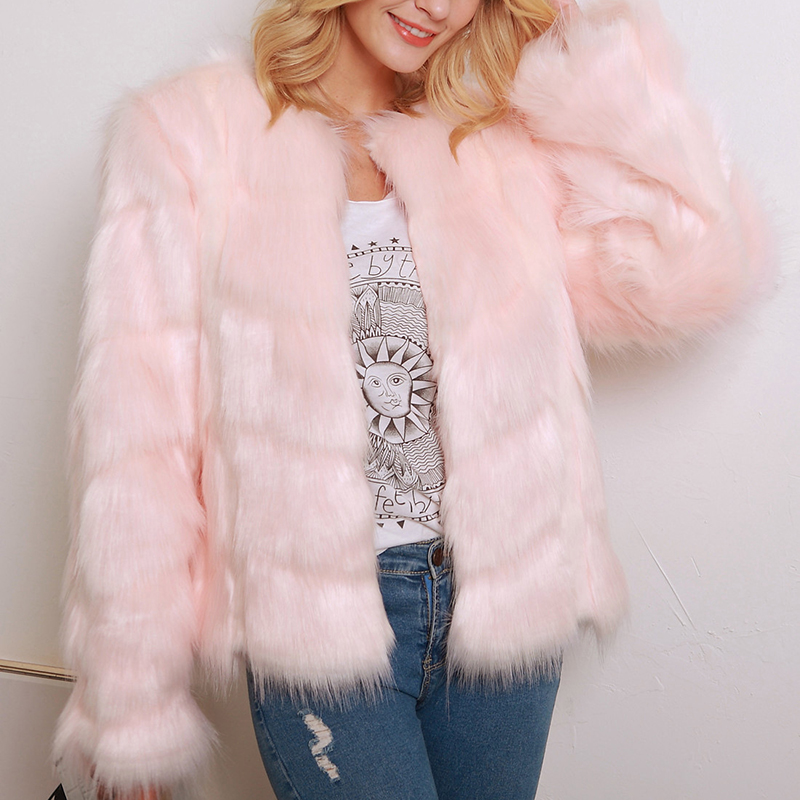 JULY'S SONG Winter Vintage Fluffy Short Party Overcoat Pink Fake Fur Outerwear Casual O-neck Women Faux Fox Fur Coat