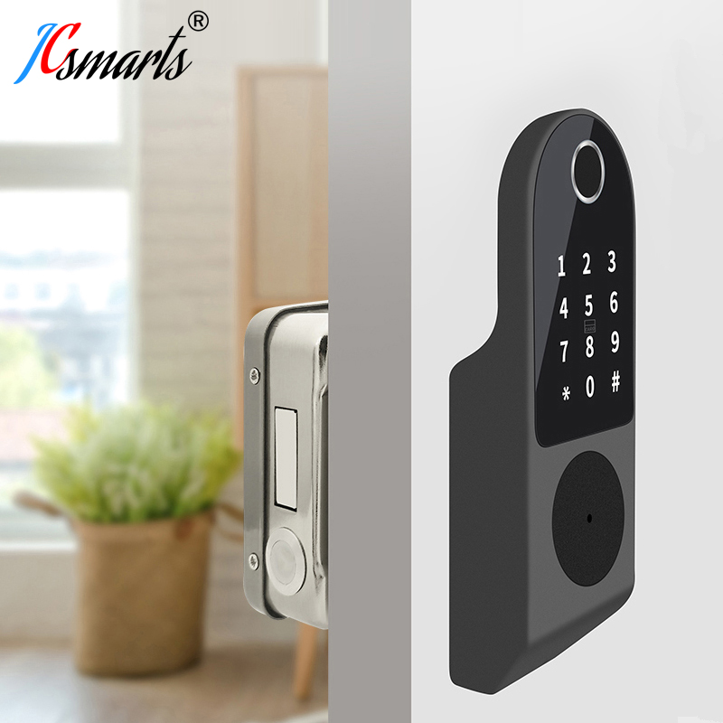 No Wiring Outdoor Fingerprint Rim Lock Smart Card Digital Code Electronic Door Lock For Home Security Mortise Lock Waterproof