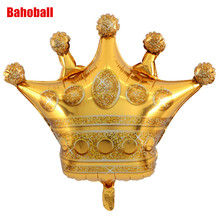 1pc Large Size Gold Crown Foil Balloons Prince Princess Baby Shower First Birthday Bachelorette Party Decorations Photo Props(China)