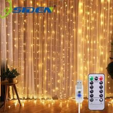 USB LED Curtain Light Fairy String Lights 8Mode 3X3M 3X1M 3X2M Fairy Garland For New Year Christmas Outdoor Wedding Home Decor cheap OSIDEN CN(Origin) 2year Plastic CR2032 LED Bulbs None Wedge 6-10m Clear 200 led string light HOLIDAY holiday light Bedroom