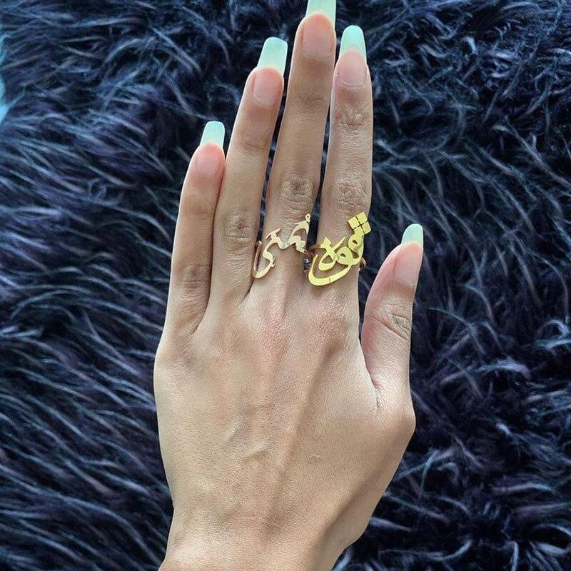 Женские кольца с арабским именем на заказ, регулируемые золотые кольца из нержавеющей стали, исламские ювелирные изделия, подарок Bague Femme