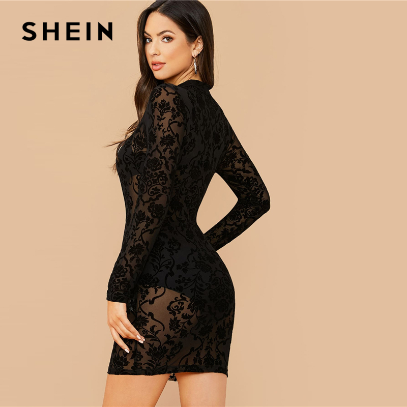 SHEIN Black Floral Print Stand Collar Sexy Bodycon Dress Without Bra Women Spring Long Sleeve Sheer Glamorous Mini Dresses 2