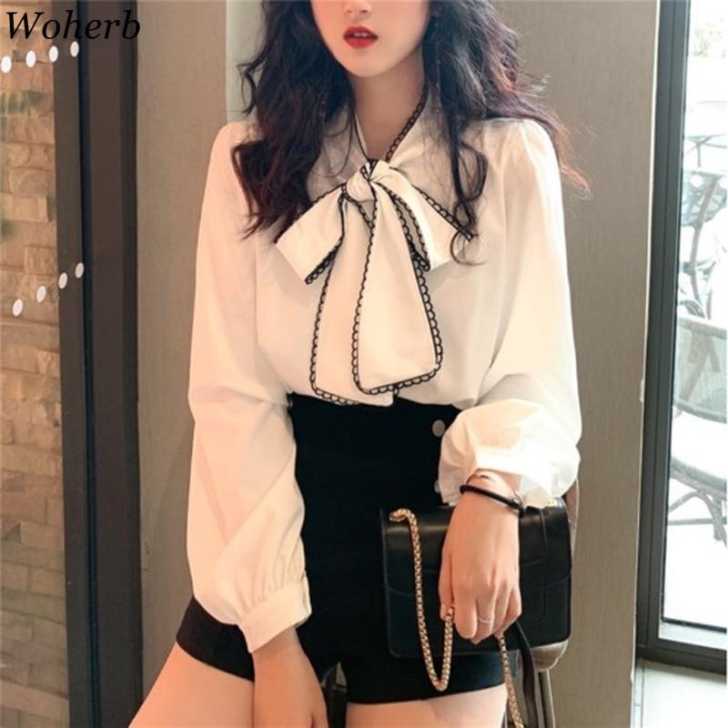 Женская блузка с длинным рукавом Woherb, белая винтажная Свободная Женская кофточка с бантом в Корейском стиле, весна 2020, 92066