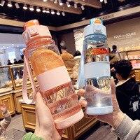 Kawaii бутылка для воды спортивные портативные бутылки для воды Bpa бесплатно пластик 550 мл 700 мл герметичная Питьевая бутылка