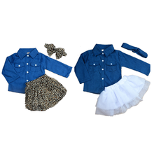 Fashion Baby Girls Clothes Denim Long Sleeve Tops+Leopard Culotte Skirt Headband Outfits Children Girls Clothing 3PCS Set(China)