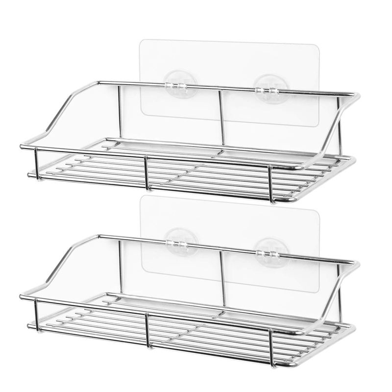 Bathroom Shelf, Wall Mounted Shower Caddy Traceless Adhesive, No Drilling Storage Organizer Rack Stainless Steel Kitchen, Bathro