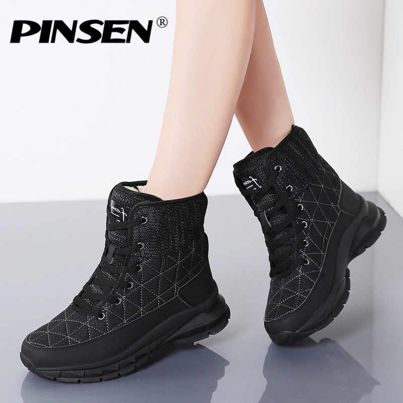 PINSEN yeni 2020 kış kar botları kadın ayakkabı ayakkabı su geçirmez pamuk kadın sıcak peluş Krasovki yarım çizmeler kadın ayakkabısı