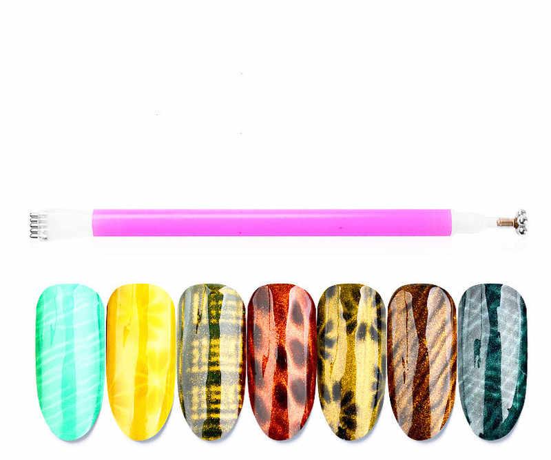 Ganda Headed Nail Art Magnet Stick Kucing Mata Magnet untuk Kuku Gel Polandia Pernis 3D Garis Strip Efek Magnet Yang Kuat pena Alat