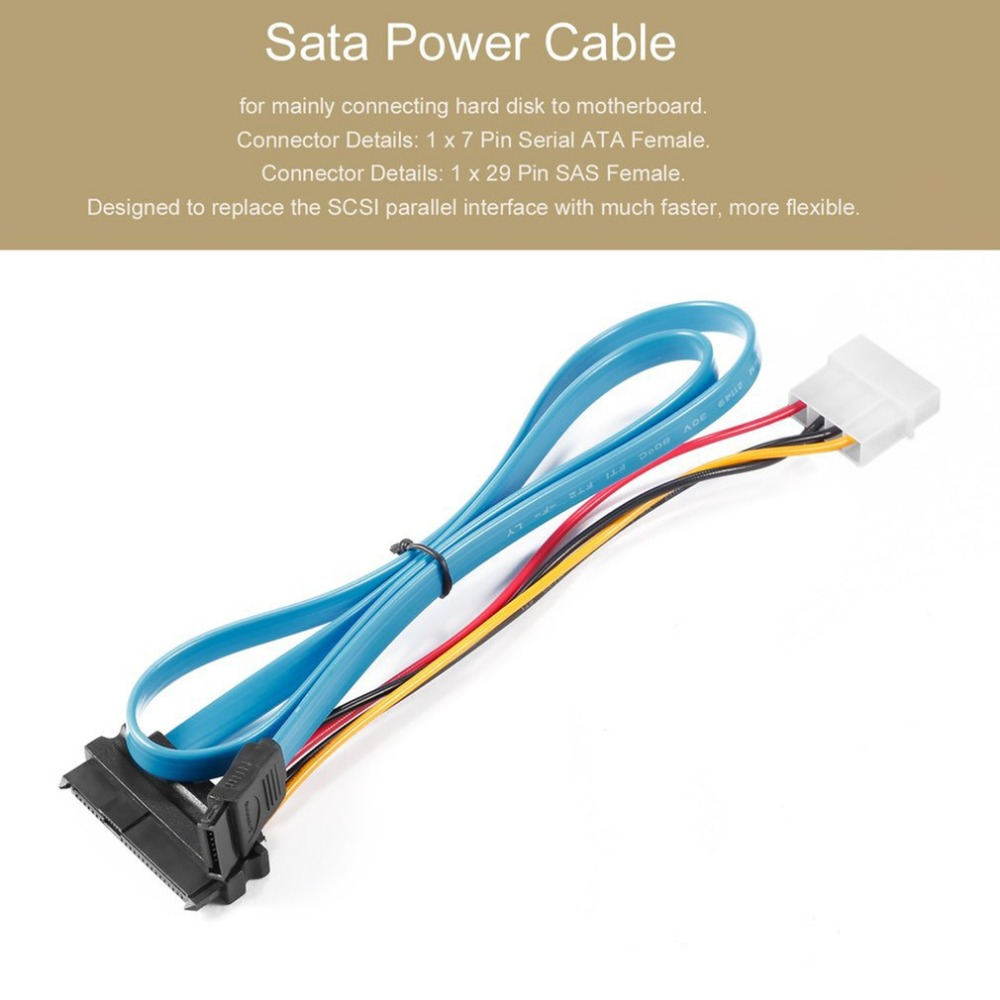 קרסים עופרות אביזרים וביגוד פין 7 SATA Serial ATA ל- SAS 29 פין & 4 מתאם מחבר פין לכבל זכר עבור 2.5 אינץ HDD כונן קשיח (2)