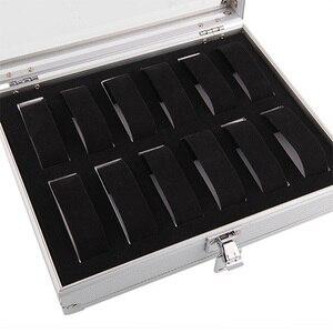 Image 4 - 12 Grids Retângulo Caixa de Relógio Relógio Relógio de Plástico Organizador Do Armário Titular Caixa De Armazenamento De Alumínio коробка для часов Caixa de Presente