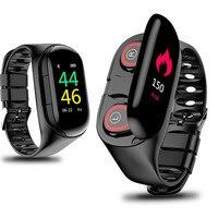M1 mais novo ai relógio inteligente com bluetooth fone de ouvido monitor de freqüência cardíaca pulseira inteligente longo tempo de espera relógio esporte masculino|Pulseiras inteligentes| |  -
